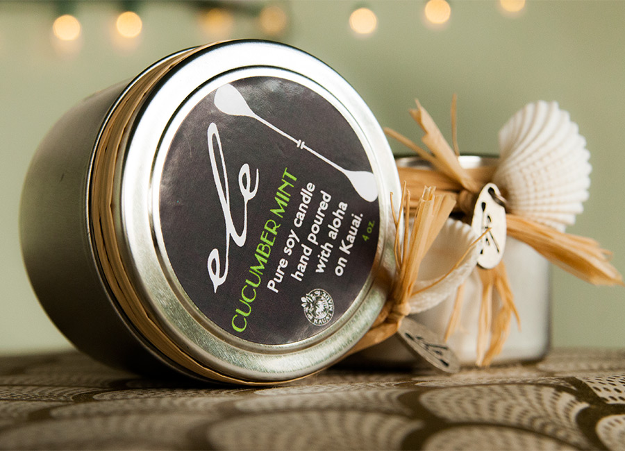 Ele's soy candles in Cucumber mint, poured in Hawaii