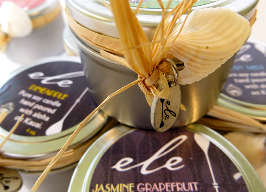 Cute hand made tins filled with candles, made in kauai